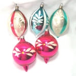 Click here to enlarge image and see more about item 13532: Hand Painted USA Blown Glass Teardrop Christmas Ornaments