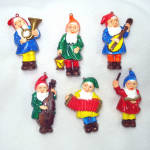 Click here to enlarge image and see more about item 13533: Hard Plastic Musical Gnomes Christmas Ornaments Set 6