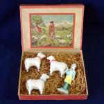 Click here to enlarge image and see more about item 13535: Antique Germany Stick Leg Woolly Sheep Christmas Putz Toy Set