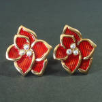 Click here to enlarge image and see more about item 13539: Red Enamel Flower With Rhinestones Clip Earrings