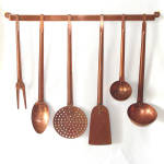 Click here to enlarge image and see more about item 13549: 7 Piece Solid Copper Hanging Kitchen Utensils Set
