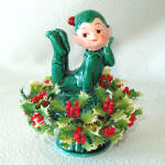 Click here to enlarge image and see more about item 13555: Inarco Christmas Holly Pixie Elf Ceramic Figurine