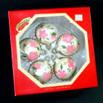 Click here to enlarge image and see more about item 13556: Box Hand Painted Pink Roses Glass Christmas Ornaments