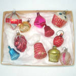 Click here to enlarge image and see more about item 13560: Box 12 Antique Glass Feather Tree Christmas Ornaments