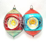 West German 1950s Triple Indent Glass Christmas Ornaments