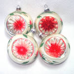 Indent Glass Christmas Ornaments Hand Painted Flowers
