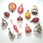Click here to enlarge image and see more about item 13572: 12 Figural German Glass Christmas Ornaments