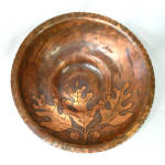 Click here to enlarge image and see more about item 13578: Arts Crafts Style Copper Bowl Etched Acorns Oak Leaves