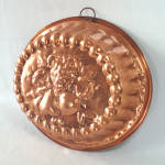 Click here to enlarge image and see more about item 13581: Large 3 Quart Oval Copper Mold Embossed Fruit