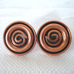 Click here to enlarge image and see more about item 13582: Renoir Modernist Spiral Coils Solid Copper Cufflinks
