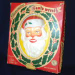 Click here to enlarge image and see more about item 13587: Glolite 1950s Lighted Christmas Illuminated Santa Wreath