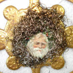 Click to view larger image of Victorian Gold Leaf Medallion Dresden Scrap Christmas Ornament (Image2)