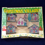 Click here to enlarge image and see more about item 13598: Box 1950s Miniature Mica Encrusted Christmas Putz Village Ornaments