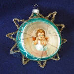Click to view larger image of Scrap Angel Glass Diorama Christmas Ornament in Tinsel Star (Image3)