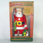 Click here to enlarge image and see more about item 13617: Paramount 1950s Flat Back Lighted Santa Christmas Plaque In Box