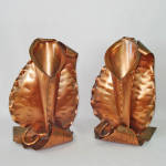 Click here to enlarge image and see more about item 13636: Gregorian Copper Calla Lily Flower Holder Bookends