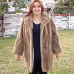 Click here to enlarge image and see more about item 13640: Mincara Faux Fur Honey Mink 3/4 Length Coat