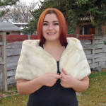 Click here to enlarge image and see more about item 13642: Elegant 1960s White Faux Fur Capelet Stole Shrug
