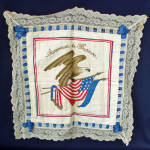 Click here to enlarge image and see more about item 13643: Embroidered Patriotic Eagle Flags Pillow Cover WWI France Souvenir