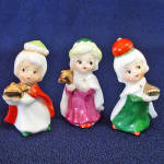 Click here to enlarge image and see more about item 13655: Napco Mini Bone China Christmas 3 Wisemen Nativity Figurines