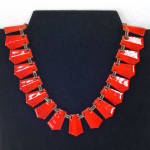 Click here to enlarge image and see more about item 13662: Renoir Matisse Modernist Red Orange Enameled Copper Necklace
