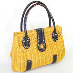 Click here to enlarge image and see more about item 13664: Yellow With Black Trim Vintage Wicker Purse Handbag