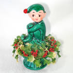 Click here to enlarge image and see more about item 13668: Inarco Christmas Holly Pixie Elf Ceramic Figurine