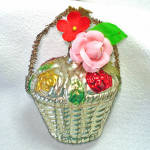 Click here to enlarge image and see more about item 13684: Fancy Flower Basket Wire Wrapped West German Christmas Ornament