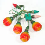 Click here to enlarge image and see more about item 13693: Rose Antique Figural Christmas Bulbs on Vintage C6 Light String