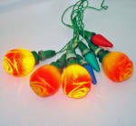 Click to view larger image of Rose Antique Figural Christmas Bulbs on Vintage C6 Light String (Image5)
