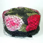 Click here to enlarge image and see more about item 13700: Coralie Pink on Black Peonies Ladies Pillbox Hat