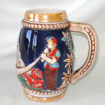 Click to view larger image of West German Ceramic Alps Couple Beer Stein Luster Cobalt (Image2)