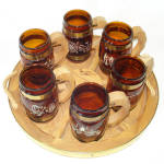 Click here to enlarge image and see more about item 13713: Siesta Ware Western Cowboy Mug Set With Wagon Wheel Tray