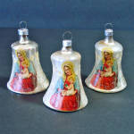 Click here to enlarge image and see more about item 13715: 3 German Madonna and Child Glass Bell Christmas Ornaments