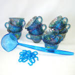 Click to view larger image of Indiana Blue Carnival Harvest Grape Glass Punch Set in Original Box (Image4)