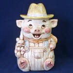 Click here to enlarge image and see more about item 13725: Treasure Craft Farmer Pig With Bunny Cookie Jar