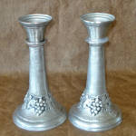 Click here to enlarge image and see more about item 13730: Germany SKS Zinn Pewter Grapes Candlesticks