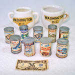 Click here to enlarge image and see more about item 13732: 9 Miniature Dollhouse Canned Food Cans