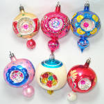 Click here to enlarge image and see more about item 13734: Box Poland Fancy Triple Indent Glass Christmas Ornaments