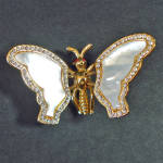 Click here to enlarge image and see more about item 13748: Trembler Butterfly Brooch Mother of Pearl, Rhinestone Pin