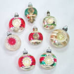 Click here to enlarge image and see more about item 13759: Double Indent USA 1950s Glass Christmas Ornaments
