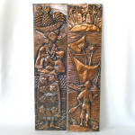 Click here to enlarge image and see more about item 13765: Skinny Tiki Tooled Copper Art Pictures Tropical Mid Century