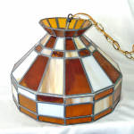 Click here to enlarge image and see more about item 13804: Hanging Stained Glass Lamp Crackle Glass Amber Globe