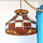 Click to view larger image of Hanging Stained Glass Lamp Crackle Glass Amber Globe (Image2)