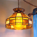 Click to view larger image of Hanging Stained Glass Lamp Crackle Glass Amber Globe (Image3)