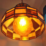Click to view larger image of Hanging Stained Glass Lamp Crackle Glass Amber Globe (Image4)