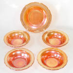 Click here to enlarge image and see more about item 13807: Federal Glass Normandie Sunburst 4 Dessert Fruit Bowls