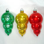 Click here to enlarge image and see more about item 13826: Paragon 1960s Triple Drop Glass Christmas Ornaments