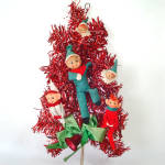 Click here to enlarge image and see more about item 13837: Pixie Elves Red Tinsel Door or Wall Tree