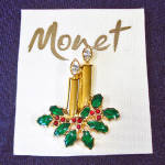 Click here to enlarge image and see more about item 13857: Monet Christmas Candles Rhinestones Brooch Pin on Card